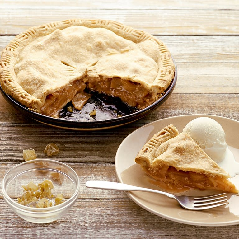 """<p>An early version of this pie once won Sunset reader Elaine E. Johnson of McKinleyville, California, an apple tree in a local contest. She's still baking for her pie-loving husband, and this version, with cardamom and candied ginger as well as the usual cinnamon, is one of their favorites.</p> <p><a href=""""https://www.myrecipes.com/recipe/three-spice-apple-pie"""" rel=""""nofollow noopener"""" target=""""_blank"""" data-ylk=""""slk:Three-Spice Apple Pie Recipe"""" class=""""link rapid-noclick-resp"""">Three-Spice Apple Pie Recipe</a></p>"""