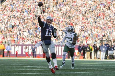 Dec 30, 2018; Foxborough, MA, USA; New England Patriots quarterback Tom Brady (12) throws a pass against the New York Jets in the first half at Gillette Stadium. Mandatory Credit: David Butler II-USA TODAY Sports
