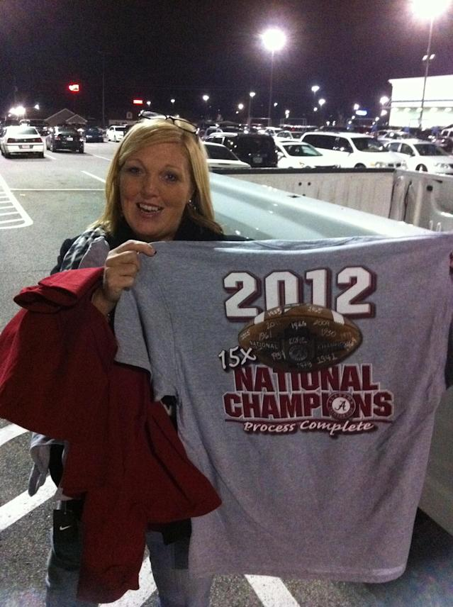 Tide fan Diane McCrary has already bought her championship merch.