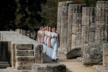 Olympics - Dress Rehearsal - Lighting Ceremony of the Olympic Flame Pyeongchang 2018 - Ancient Olympia, Olympia, Greece - October 23, 2017 Actresses during the dress rehearsal for the Olympic flame lighting ceremony for the Pyeongchang 2018 Winter Olympic Games at the site of ancient Olympia in Greece REUTERS/Costas Baltas
