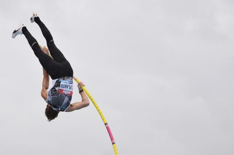 Sweden's Armand Duplantis competes in the men's pole vault final at the Gateshead Diamond League meeting