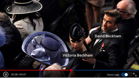 David and Victoria Beckham dressed up with their names under their images -- an example of how Sky News'