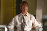 """This image released by AMC shows Bob Odenkirk as Jimmy McGill in a scene from"""" Better Call Saul."""" Odenkirk was nominated for a Golden Globe for best actor in a drama for his role in the television series. (Greg Lewis/AMC/Sony Pictures Television via AP)"""