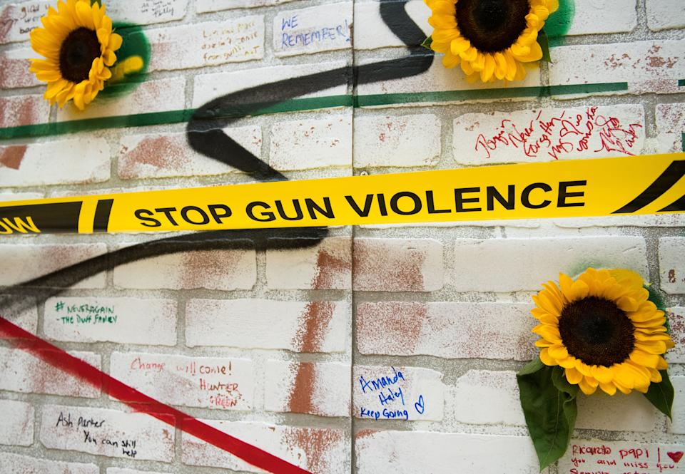 An anti-gun violence display is seen in the months after the Parkland shooting. The NRA took a hit this year amid a new wave of activism in support of stronger gun laws. (Photo: Noam Galai via Getty Images)