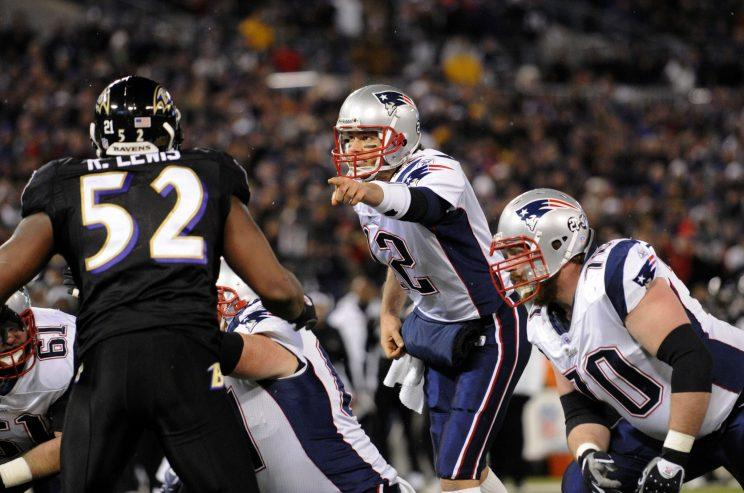 Tom Brady and the Patriots had a dramatic last-minute win against Ray Lewis and the Ravens in 2007. (AP)
