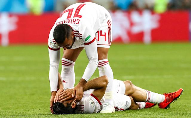<p>Iran's players after their 2018 FIFA World Cup Group B football match against Portugal at Mordovia Arena Stadium. The game ended in a 1:1 draw. Stanislav Krasilnikov/TASS (Photo by Stanislav Krasilnikov\TASS via Getty Images) </p>