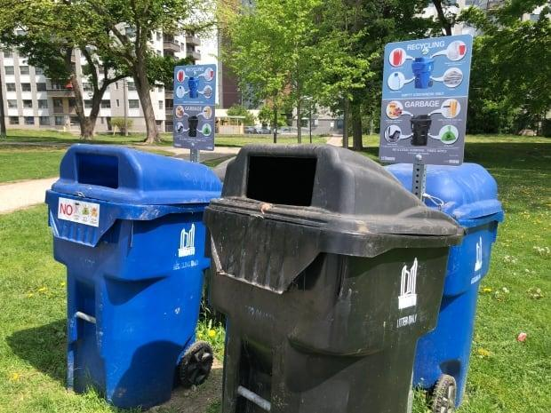 The trash and recycling bins at Dentonia Park were neat and tidy on a recent morning.
