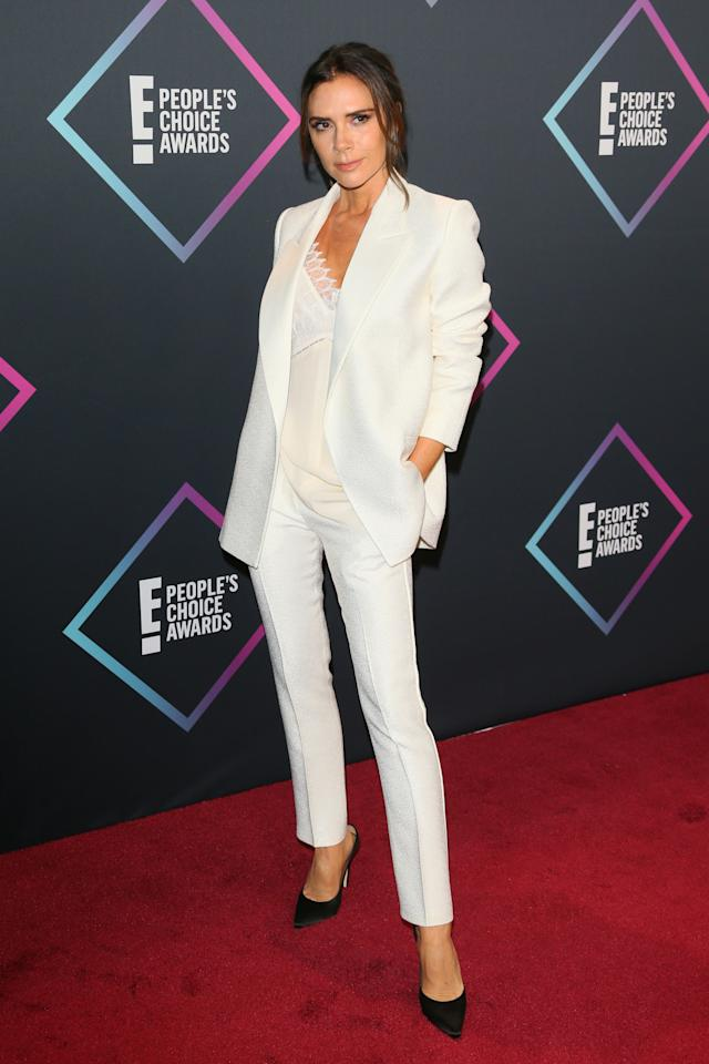 """<p>Victoria Beckham has stepped out in a stunning white power suit, a week after <a rel=""""nofollow"""" href=""""https://au.lifestyle.yahoo.com/spice-girls-confirm-theyre-reuniting-without-victoria-beckham-201026994.html"""">the Spice Girl's announced they would reunite </a>without Posh. Photo: Getty </p>"""