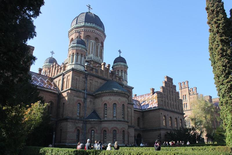 In this photo taken on Oct. 21 2012, the UNESCO-protected Chernivtsi Universtiy is seen in Chernivtsi, a city of 250,000 in southwestern Ukraine. Known as the Little Paris or, alternatively, the Little Vienna of Ukraine, Chernivtsi is a perfect place for a quiet romantic weekend trip and a crash course in the painful history of Europe in the 20th century. (AP Photo/Maria Danilova)