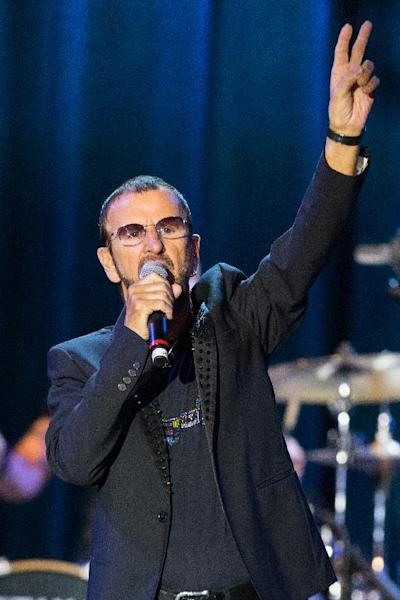"Musician Ringo Starr performs on stage during the David Lynch Foundation Honors Ringo Star ""A Lifetime of Peace & Love"" event held at the El Rey Theatre on Monday, Jan. 20, 2014, in Los Angeles. (Photo by Paul A. Hebert/Invision/AP)"