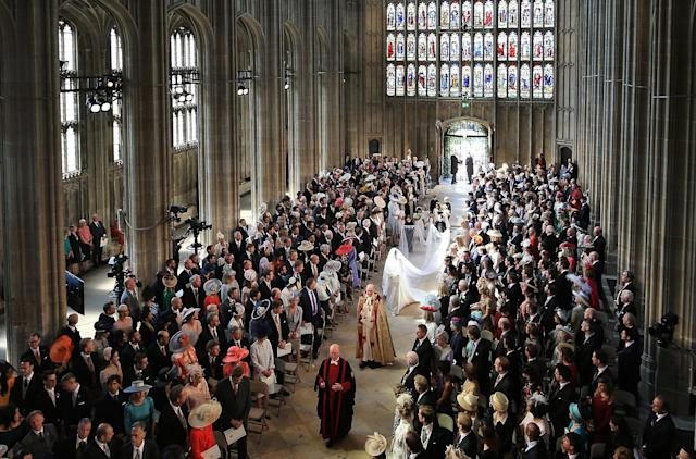 <p>Meghan had 10 bridesmaids and pageboys, including Prince George and Princess Charlotte. (Photo: Getty) </p>