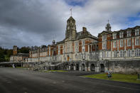 A general view of Britannia Royal Naval College in Dartmouth, Devon, where the Duke of Edinburgh first met the Queen whilst training as a young naval cadet, England, Monday, April 12, 2021. Britain's Prince Philip, the irascible and tough-minded husband of Queen Elizabeth II who spent more than seven decades supporting his wife in a role that mostly defined his life, died on Friday. (Ben Birchall/PA via AP)