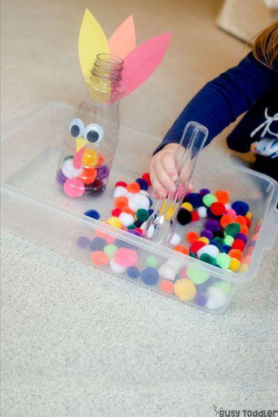 """<p>Keep your toddler busy while you get cooking in the kitchen with this easy-to-make and even easier-to-play pom-pom game.</p><p><strong>Get the tutorial at <a href=""""https://busytoddler.com/2017/11/feed-the-turkey/"""" rel=""""nofollow noopener"""" target=""""_blank"""" data-ylk=""""slk:Busy Toddler"""" class=""""link rapid-noclick-resp"""">Busy Toddler</a>.</strong></p><p><strong><a class=""""link rapid-noclick-resp"""" href=""""https://www.amazon.com/Acerich-Assorted-Multicolor-Creative-Decorations/dp/B0773MQY4H/ref=sr_1_1_sspa?tag=syn-yahoo-20&ascsubtag=%5Bartid%7C10050.g.4698%5Bsrc%7Cyahoo-us"""" rel=""""nofollow noopener"""" target=""""_blank"""" data-ylk=""""slk:SHOP POM-POMS"""">SHOP POM-POMS</a><br></strong></p>"""