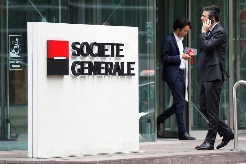 The logo of Societe Generale is pictured outside the headquarters of the French bank at the financial and business district of La Defense in Puteaux
