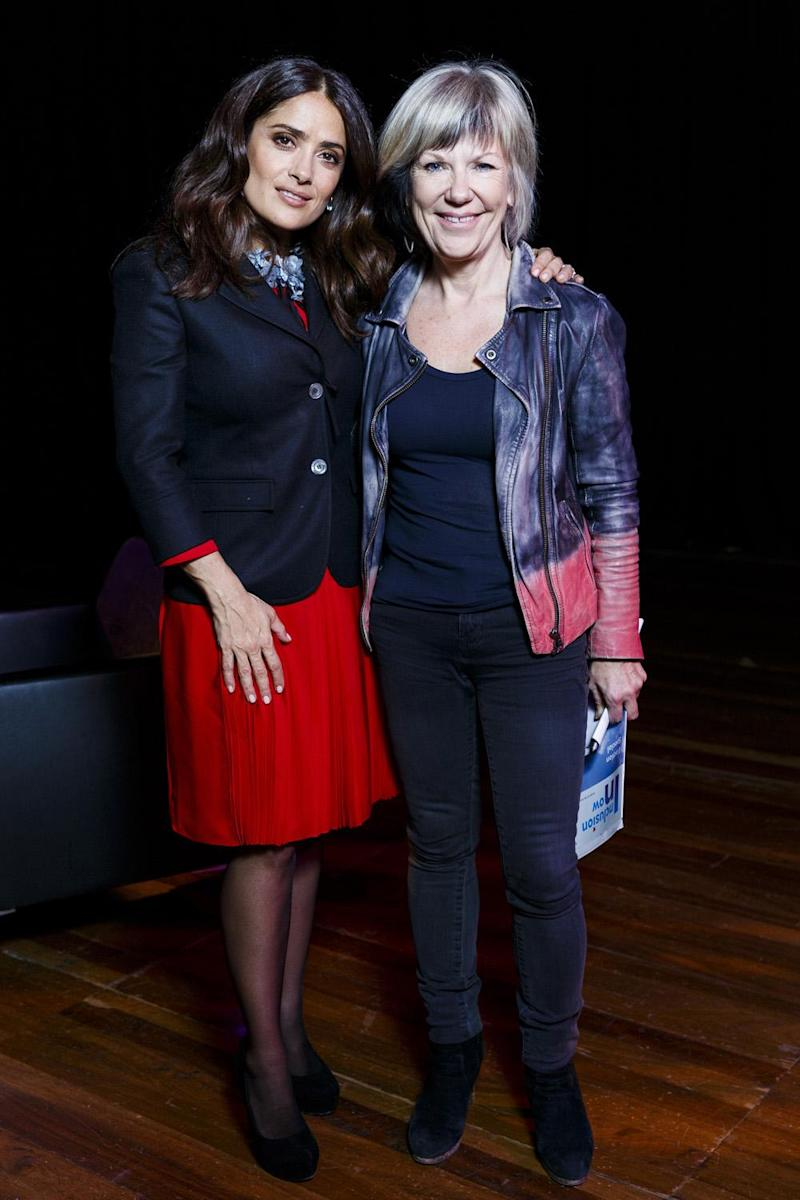 Jude Kelly with Salma Hayek at a screening of animated feature film
