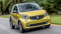 """<p><strong>Smart Fortwo</strong></p> <p>Ah, the <a href=""""https://www.autoblog.com/2019/05/14/smart-fortwo-cabrio-final-collectors-edition-brabus/"""" data-ylk=""""slk:Smart Car"""" class=""""link rapid-noclick-resp"""">Smart Car</a>. Perhaps it was too smart for its own good. Or maybe it was just a bad fit in America from the beginning. It was definitely <a href=""""https://www.autoblog.com/2017/07/05/2017-smart-fortwo-electric-drive-cabrio-review/"""" data-ylk=""""slk:the latter"""" class=""""link rapid-noclick-resp"""">the latter</a>. The Smart EQ Fortwo was the last one left in America, and unlike Europe, it fits next to nobody's lifestyles. Our most recent review titled it: <a href=""""https://www.autoblog.com/2018/07/03/smart-fortwo-electric-drive-review/"""" data-ylk=""""slk:The saddest way to spend $25,000"""" class=""""link rapid-noclick-resp"""">The saddest way to spend $25,000</a>. That is still true in 2019. And if you were wondering, yes, we managed to find some <a href=""""https://www.cars.com/for-sale/searchresults.action/?dealerType=all&mkId=20228&page=1&perPage=20&rd=99999&returnRecs=false&searchSource=SORT&sort=price-highest&zc=60606"""" rel=""""nofollow noopener"""" target=""""_blank"""" data-ylk=""""slk:new 2019 Smart Fortwo Electric Drives for sale on the internet"""" class=""""link rapid-noclick-resp"""">new 2019 Smart Fortwo Electric Drives for sale on the internet</a>. Don't do it.</p>"""