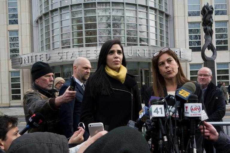 "Emma Coronel Aispuro (L), the wife of Joaquin ""El Chapo"" Guzman, listens as his attorney Michelle Gelernt talks to the press outside the US Federal Courthouse in Brooklyn, New York"