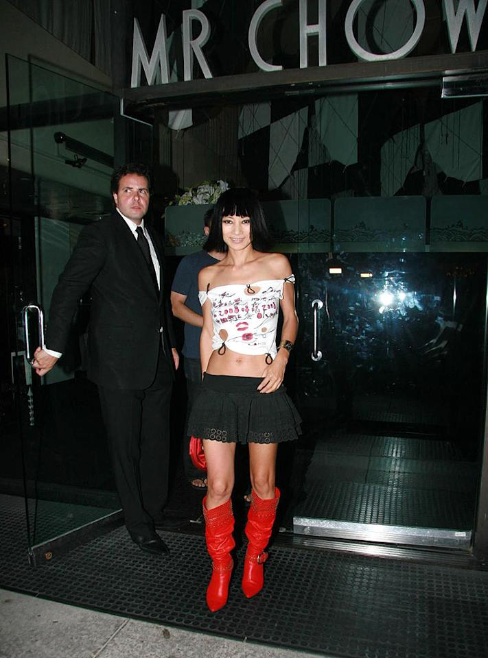 "Bai Ling continues to confound us with her hideous homemade ensembles. Josephine Santos/<a href=""http://www.pacificcoastnews.com/"" target=""new"">PacificCoastNews.com</a> - August 5, 2008"