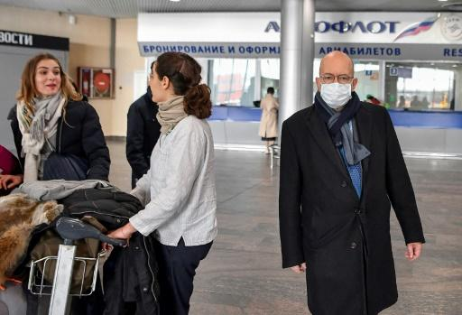 "French Ambassador Pierre Levy said it was ""not in the interests of the authorities to have foreigners floating around"" as dozens of expats gathered for a repatriation flight to France for French and European nationals stuck in Russia"