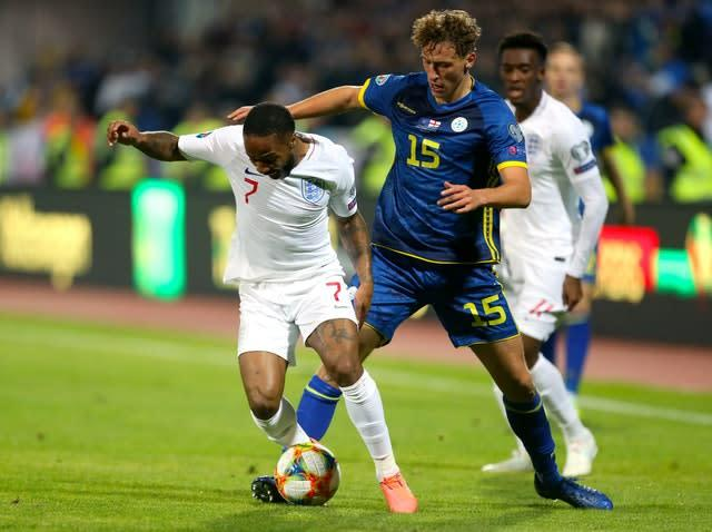 Sterling was involved as England added late goals in Kosovo (Steven Paston/PA