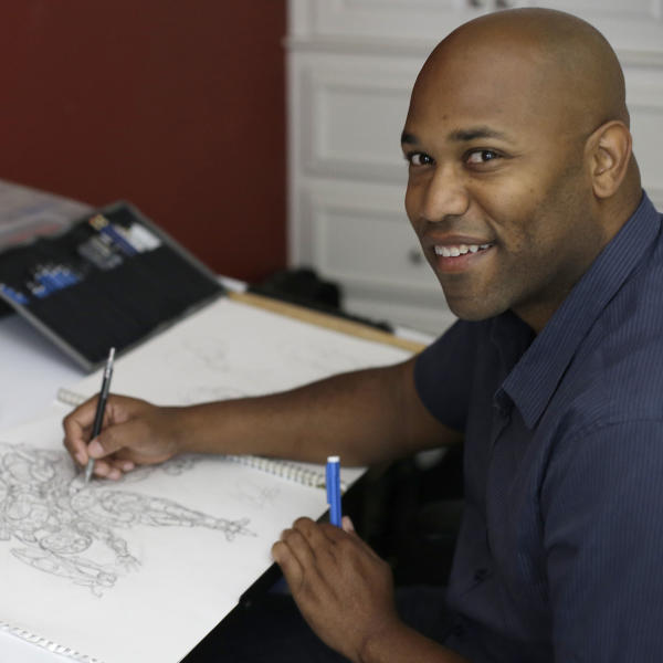 Digital media artist Christopher Jones sits at his desk at his home in Livermore, Calif. on Tuesday, June 4, 2013. In May 2013, he found his 2006 police mug shot on a website. Jones was arrested for burglarizing an apartment he'd recently moved out of after a breakup, but Florida prosecutors decided shortly afterward to drop the case. But if he wanted the photo taken down, the site's operator told him it would cost $399. Jones said he was angered by the terms of the offer, but no more so than scores of other people across the country discovering that past arrests - many for charges eventually dismissed or that resulted in convictions later expunged - make them part of an unwilling, but potentially enormous customer base for a fast-proliferating number of mug shot web sites. (AP Photo/Ben Margot)