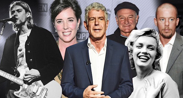 When news of celebrity suicides hits, people struggling with their own mental health issues can be triggered. From left, Kurt Cobain, Kate Spade, Anthony Bourdain, Robin Williams, Marilyn Monroe, and Alexander McQueen. (Photo: Getty Images/Quinn Lemmers for Yahoo Lifestyle)