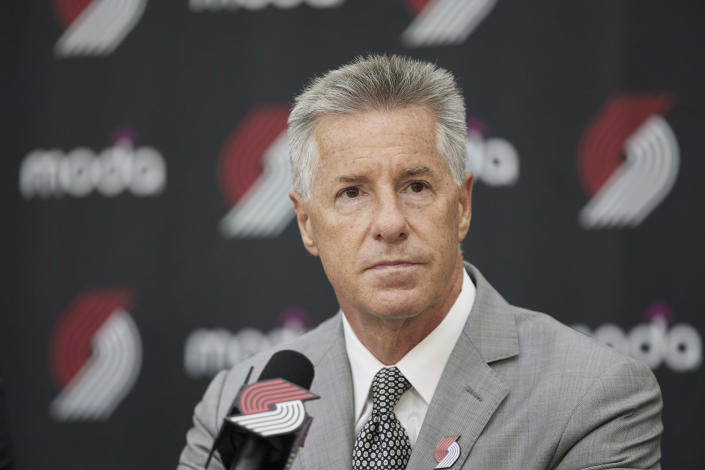 General nanager Neil Olshey talks to media after announcing Chauncey Billups as the head coach of the Portland Trail Blazers at the team's practice facility in Tualatin, Ore., Tuesday, June 29, 2021. (AP Photo/Craig Mitchelldyer)