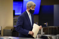 John Kerry, United States Special Presidential Envoy for Climate, arrives at United Nations headquarters, Monday, Sept. 20, 2021, during the 76th Session of the U.N. General Assembly in New York. (AP Photo/John Minchillo, Pool)