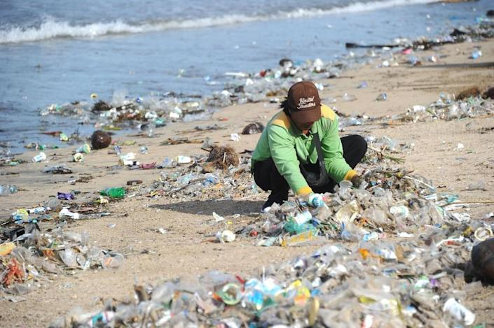 """Officials in Bali have declared a """"garbage emergency"""" across a stretch of coast that includes Jimbaran, Kuta and Seminyak beaches (AFP Photo/SONNY TUMBELAKA)"""