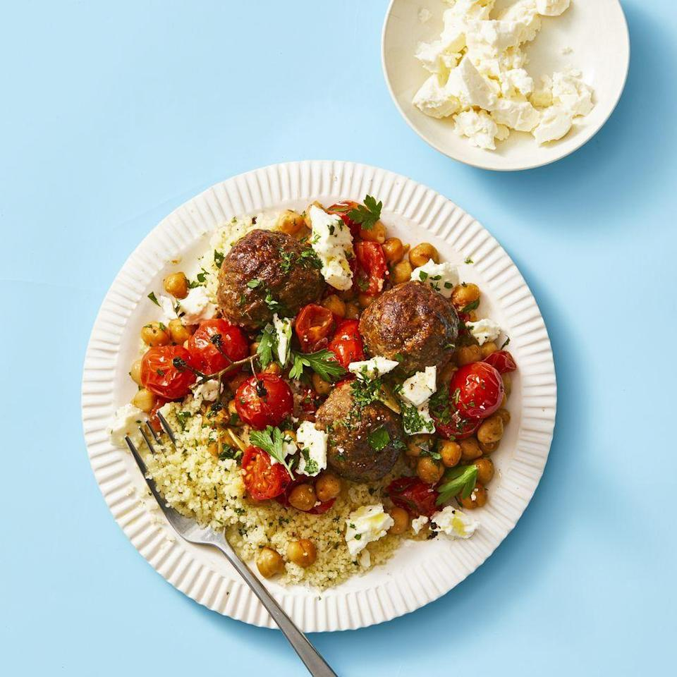 "<p>Warm spices and a sprinkling of fresh herbs give these meatballs, served with chickpeas and tomatoes, the flavor boost your dinner plate needs.</p><p><em><a href=""https://www.goodhousekeeping.com/food-recipes/easy/a32036015/moroccan-meatballs-recipe/"" rel=""nofollow noopener"" target=""_blank"" data-ylk=""slk:Get the recipe for Moroccan Meatballs »"" class=""link rapid-noclick-resp"">Get the recipe for Moroccan Meatballs »</a></em></p><p><strong>RELATED: </strong><a href=""https://www.goodhousekeeping.com/food-recipes/easy/g4215/meatball-recipes/"" rel=""nofollow noopener"" target=""_blank"" data-ylk=""slk:51 Delicious Ways to Have Meatballs for Dinner"" class=""link rapid-noclick-resp"">51 Delicious Ways to Have Meatballs for Dinner</a><br></p>"