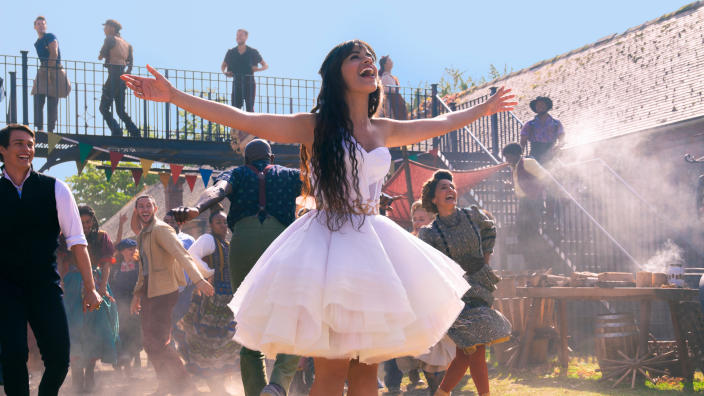 Camila Cabello plays a very different Cinderella in Kay Cannon's new reimagining of the classic fairy tale.  (Christophe Raphaël / Amazon)