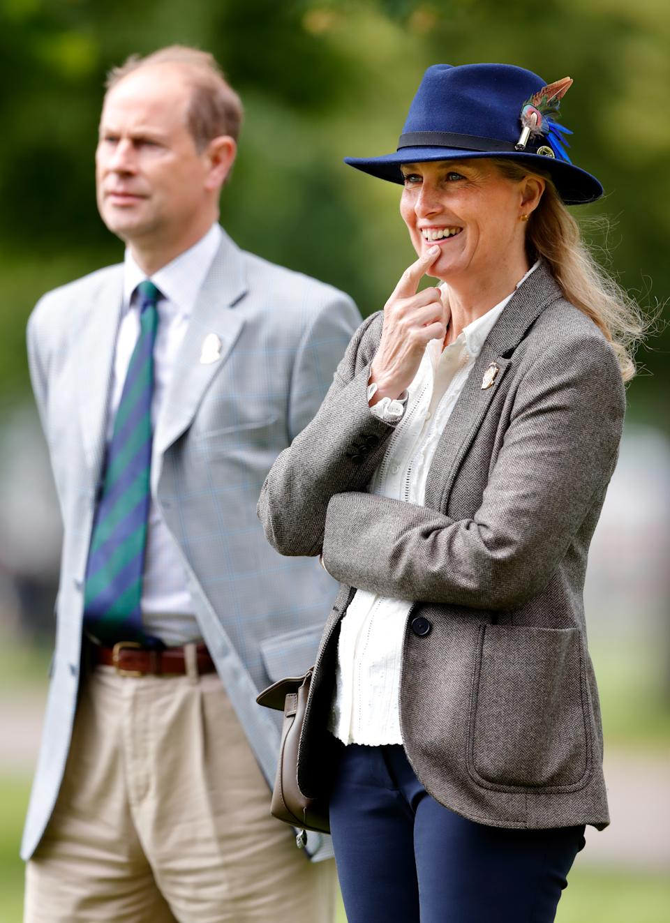 WINDSOR, UNITED KINGDOM - JULY 03: (EMBARGOED FOR PUBLICATION IN UK NEWSPAPERS UNTIL 24 HOURS AFTER CREATE DATE AND TIME) Prince Edward, Earl of Wessex and Sophie, Countess of Wessex watch the carriage driving marathon event as they attend day 3 of the Royal Windsor Horse Show in Home Park, Windsor Castle on July 3, 2021 in Windsor, England. (Photo by Max Mumby/Indigo/Getty Images)