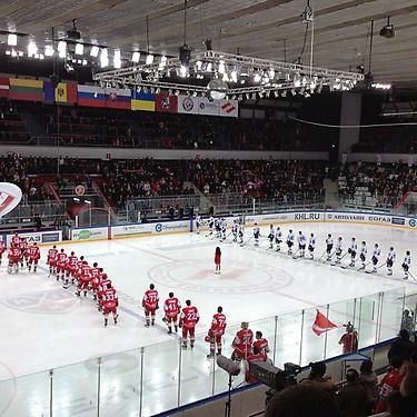 Russian national anthem before KHL game. (#NickInEurope)