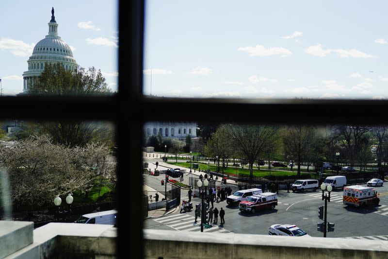 Car sits at U.S. Capitol barricade after ramming it in Washington