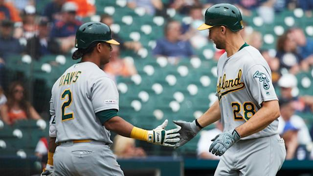 Khris Davis is out once again battling a left hip contusion. He's still day to day and has no plans to head to the injured list.