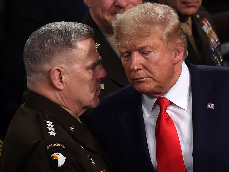 Mark Milley and Donald Trump in 2020 (AFP via Getty Images)