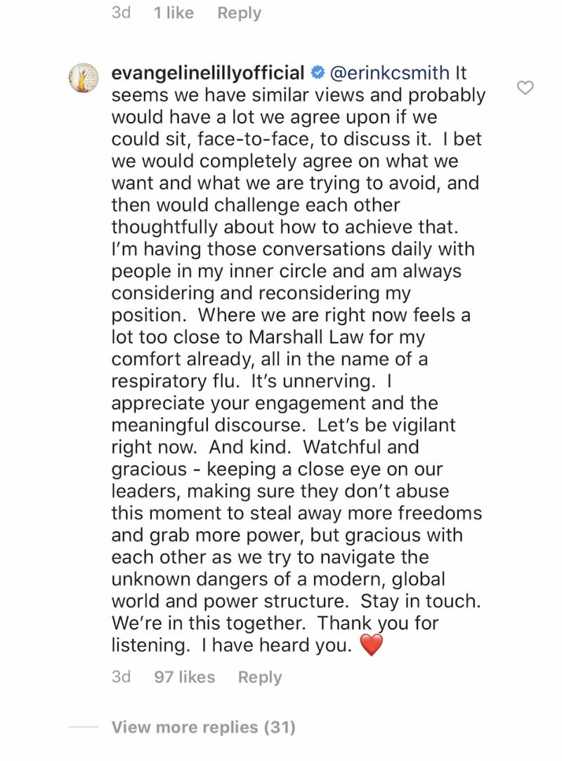 Evangeline Lilly explains why she won't self-isolate. (Photo: Evangeline Lilly via Instagram)
