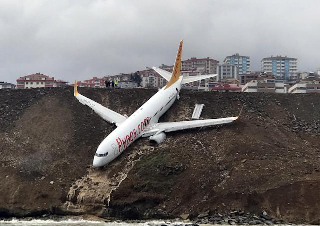 <p>A Pegasus airplane is seen stuck in mud as it skidded off the runway after landing in Trabzon Airport, Turkey early Sunday on Jan. 14, 2018. (Photo: Hakan Burak Altunoz/Anadolu Agency/Getty Images) </p>