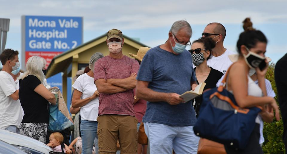 People line up for Covid-19 testing at Mona Vale Hospital's walk-in clinic in Sydney, Thursday, November 17, 2020
