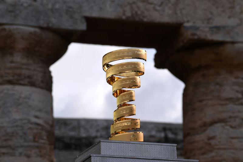 PALERMO ITALY OCTOBER 01 Trofeo Senza Fine Trophy Landscape during the 103rd Giro dItalia 2020 Team Presentation in Archaeological Park of Segesta in Palermo City Temple of Segesta girodiitalia Giro on October 01 2020 in Palermo Italy Photo by Tim de WaeleGetty Images