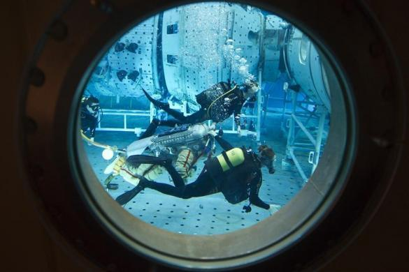 Japan Aerospace Agency astronaut Koichi Wakata dives in a space suit during a refresher training exercise at the Cosmonaut training centre at Star City outside Moscow, January 25, 2012.