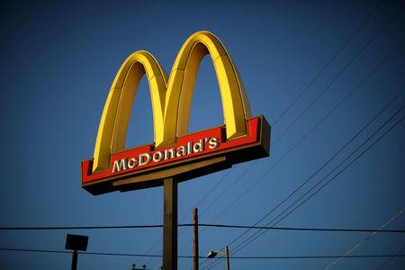 FILE PHOTO: The logo of a McDonald's Corp restaurant is seen in Los Angeles