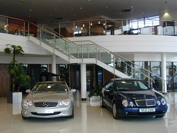 Mezzanine floor in car showroom