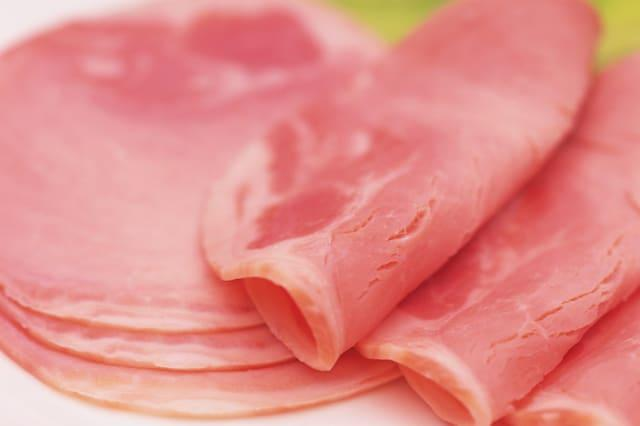 Closed Up Image of Several Slices of Some Ham, Differential Focus