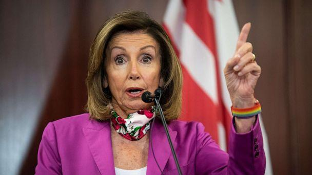 PHOTO: Speaker of the House Nancy Pelosi speaks during a news conference on D.C. statehood in the Capitol in Washington, June 16, 2020. (Caroline Brehman/CQ-Roll Call, Inc via Getty Images)
