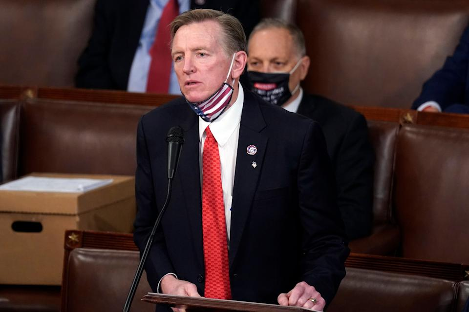 Rep. Paul Gosar (R-Ariz.) objects to certifying Arizona's Electoral College votes on Jan. 6.  (Photo: AP Photo/Andrew Harnik)