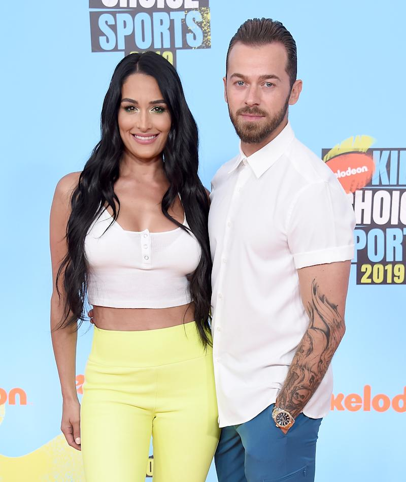 Nikki Bella and Artem Chigvintsev attend Nickelodeon Kids' Choice Sports 2019 at Barker Hangar on July 11, 2019 in Santa Monica, California. (Photo by Gregg DeGuire/WireImage)
