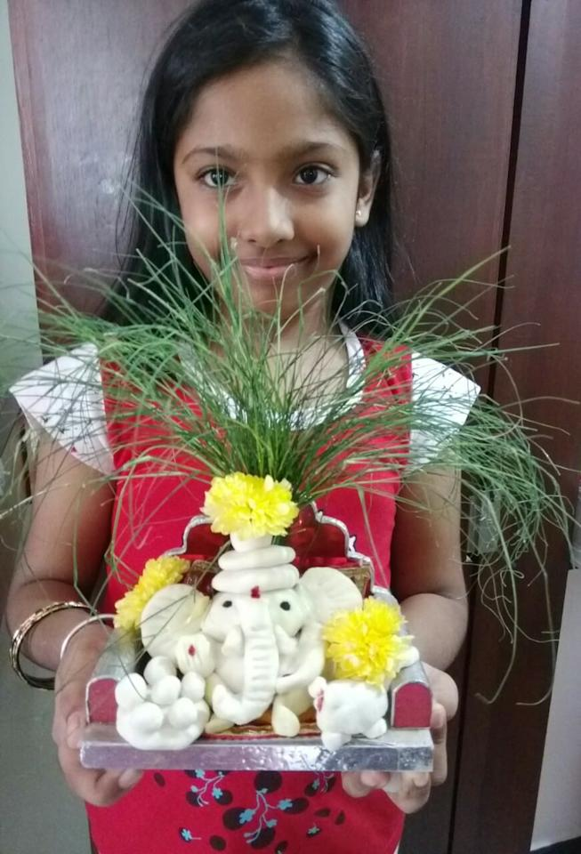 "Anurag Parasrampuria from Tamil Nadu: ""This year we celebrated Ganesh pooja with eco friendly self made Ganesha by my 8-year-old daughter, Anishka Parasrampuria."" <br>"
