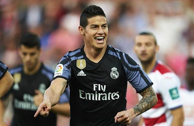 "<a class=""link rapid-noclick-resp"" href=""/soccer/players/james-rodríguez"" data-ylk=""slk:James Rodriguez"">James Rodriguez</a> scored two goals in the first 11 minutes of <a class=""link rapid-noclick-resp"" href=""/soccer/teams/real-madrid/"" data-ylk=""slk:Real Madrid"">Real Madrid</a>'s blowout win. (Getty)"