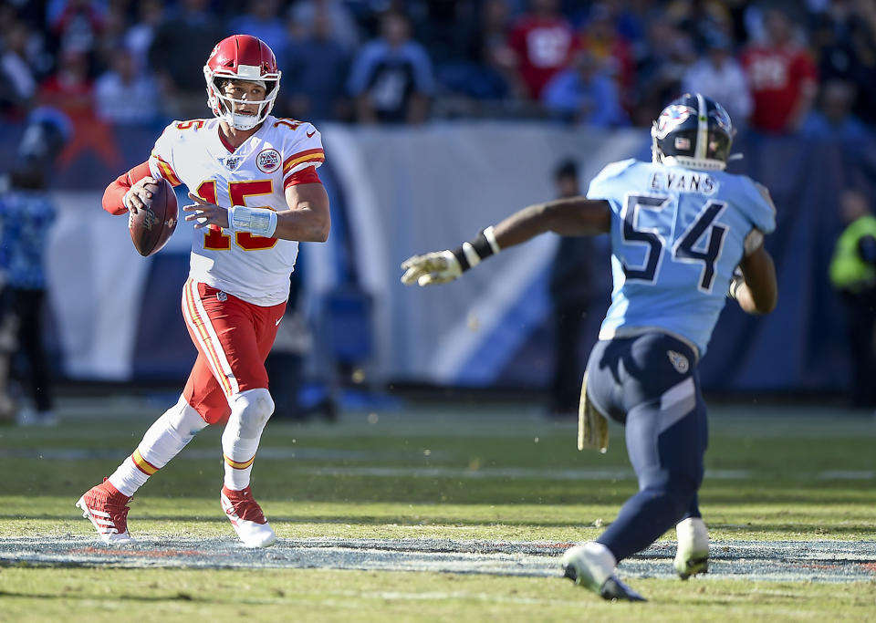 The Kansas City Chiefs and quarterback Patrick Mahomes will play the Los Angeles Chargers in Mexico City on Monday night. (Tammy Ljungblad/Kansas City Star/TNS/Getty Images)